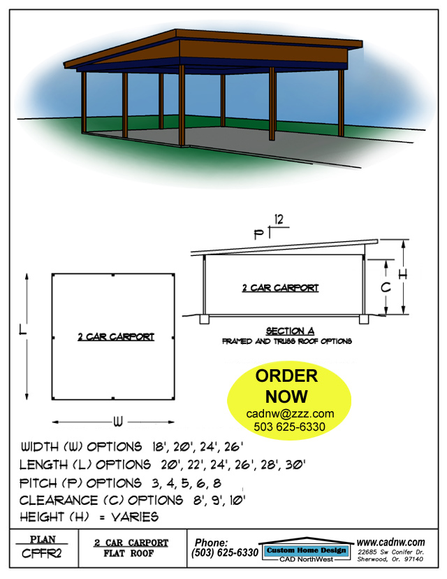 Two car flat roof carport plan cpfr2 for 2 car carport plans