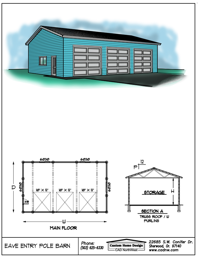 eave entry pole barn plans