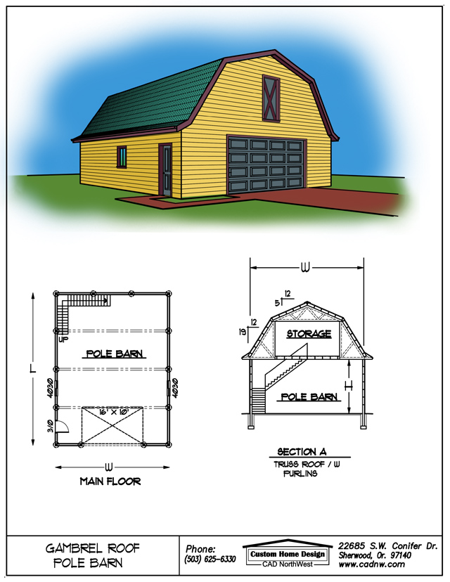 Gambrel roof pole barns for Gambrel pole barn plans