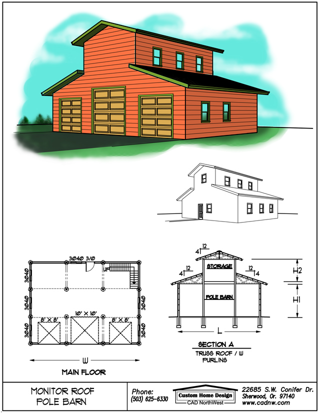 Monitor style pole barn plans for Monitor pole barn